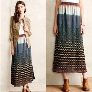 Anthropologie Maeve Pluma Maxi Skirt Side Slit Med
